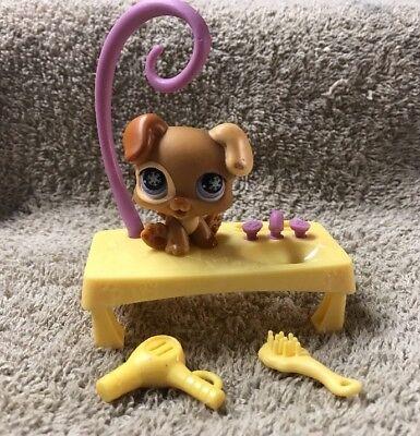 Littlest Pet Shop Tan & Brown BOXER PUPPY #760 Purple Snowflake Eyes Baby Dog for sale  San Diego