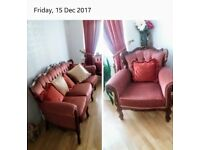 Italian French 3 piece sofa with 2 armchairs price for a quick sale in excellent condition