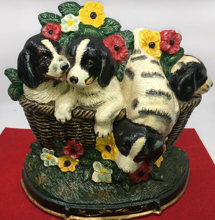 ST. BERNARD DOG PUPPIES  Cast Iron Door Stop Basket PANSIES FLORAL COLORFUL