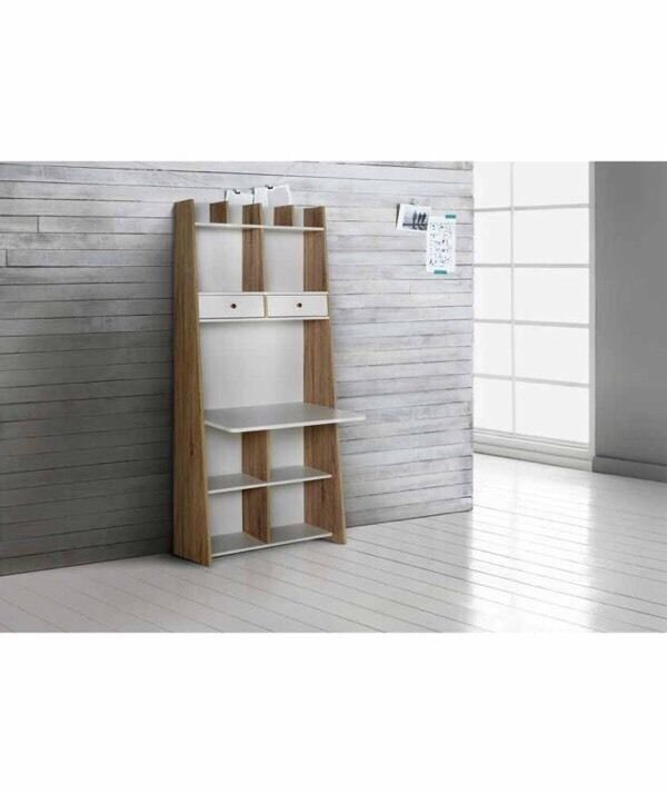 Auckland Wall Unit Desk White Oak Effect