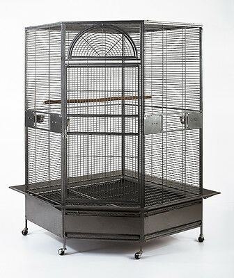 "XL Parrot Escape Jumbo Corner Bird Aviary Cage H73"" Macaws Parrot Cockatiels"
