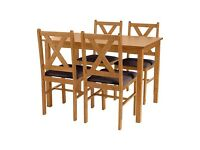 4 Chair Wooden Dining Table Set