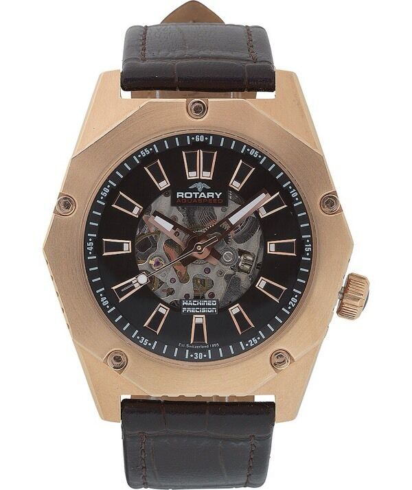 rotary mens automatic skeleton watch rose gold plated in st rotary mens automatic skeleton watch rose gold plated