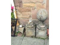 ANTIQUE STONE SCULPTURES VICTORIAN ERA FEATURES TWO OF THEM