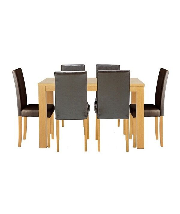 Pemberton Oak Effect Dining Table6 Black Chairsin Nechells, West MidlandsGumtree - Pemberton Oak Effect Dining Table & 6 Black Chairs.The Pemberton is a classic six seater dining table with a smooth veneer finish thats easy to wipe down after family meals. It comes complete with six durable leather effect chairs, great for everyday...