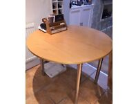 Italian made chrome and pine table with 4 chairs