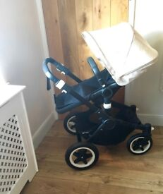 Bugaboo Buffalo Black chassis & cream hood and apron with extras