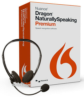 Nuance Dragon NaturallySpeaking Premium 13 w/ Headset - New Retail Box