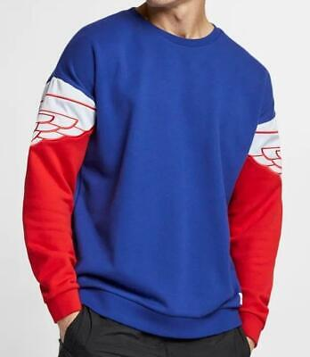 AIR JORDAN WINGS CLASSIC CREW SWEATSHIRT AO0426 455 DEEP ROYAL/UNI RED/HALF BLUE Air Wing Crew Sweatshirt