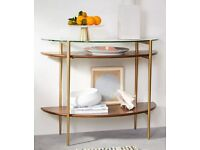 Brand New (in box) West Elm walnut and glass console table