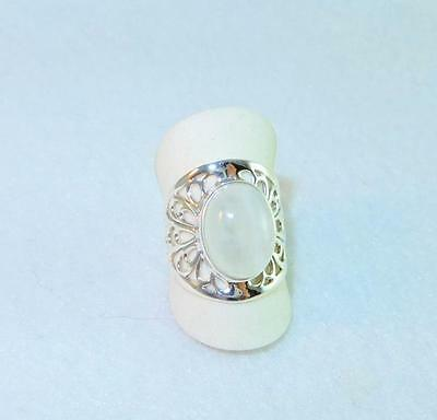 Rainbow Moonstone Large Oval Cut-Out Ring 925 Sterling Silver Size 8 (Rainbow Cut Out)