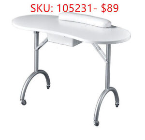 Portable Fordable White Manicure Table with carrying bag $89.99