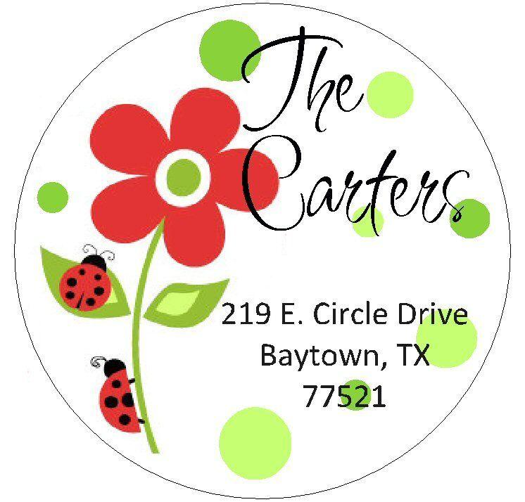 FLOWER & LADYBUGS - Round Return Address Labels