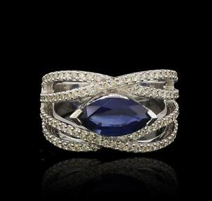 18KT White Gold 2.33ct Blue Sapphire and Diamond Ring