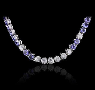 14KT White Gold 27.84 ctw Tanzanite and Diamond Necklace Lot 650
