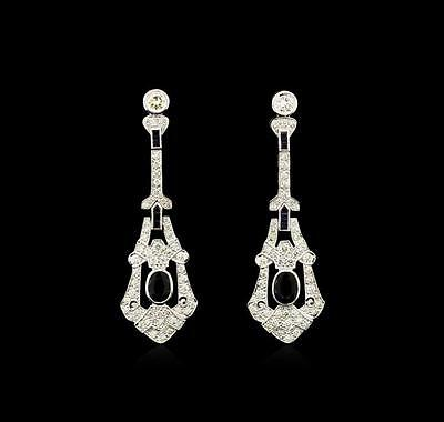3.10 ctw Blue Sapphire and Diamond Dangle Earrings - 18KT White Gold Lot 662