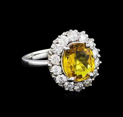 3.40 ctw Yellow Sapphire and Diamond Ring - 14KT White Gold Lot 666