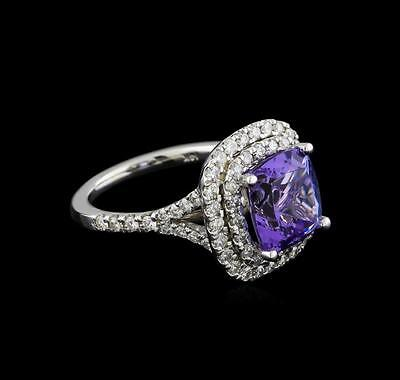 4.12 ctw Tanzanite and Diamond Pendant With Chain - 14KT White Gold Lot 656