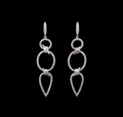 1.15 ctw Diamond Earrings - 14KT White Gold Lot 655
