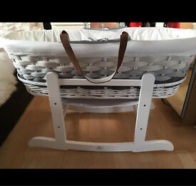 Mothercare ombré grey wicker Moses basket