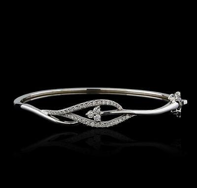 0.61 ctw Diamond Bangle Bracelet - 14KT White Gold Lot 658