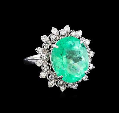 9.08 ctw Emerald and Diamond Ring - 14KT White Gold Lot 653
