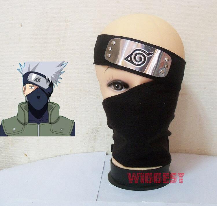 Naruto Hatake Kakashi Cosplay Black Mask Veil + Headband