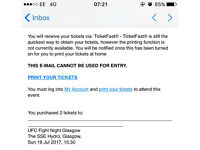 UFC Glasgow tickets x2