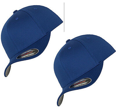 bc146c89647 2 pack New Flexfit 6277 Wooly Combed Twill Fitted Baseball Cap Royal  Large XL