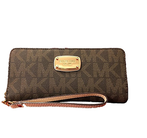 c83a20925467 Michael Kors Women's Jet Set Zip Around Continental Wallet - Brown ...