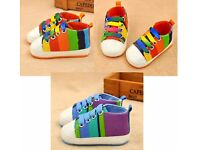 2 Soft Sole Canvas Crib Shoes Multi colour NEW - 6-9 Months - £4 for BOTH!!!