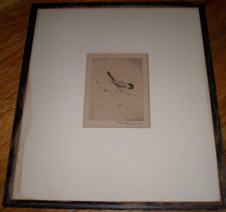 John A. Dix 1934 Bird Sketch Drawing Signed Autographed Artist
