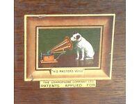 Vintage Gramophone, 2 boxes needles & 21 vinyl records