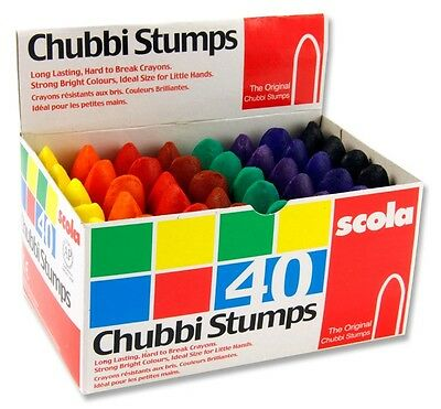 Scola Chubbi Stumps. Box of 40 crayons for colouring. Used in schools AS40