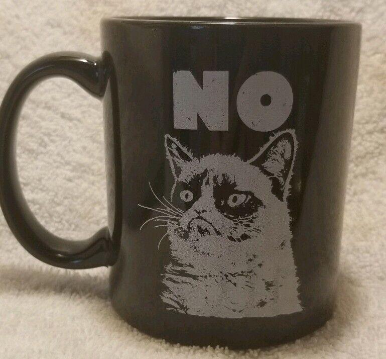 "Grumpy Cat ""NO"" Black Ceramic Coffee Mug EUC"