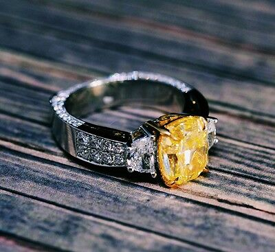 4.71TCW Natural Cushion Fancy Intense Yellow 3 Stone Half Moon Diamond Ring GIA  5
