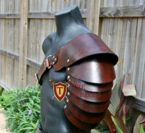 Shoulder articulated genuine viking Medieval Armor Leather SCA LARP