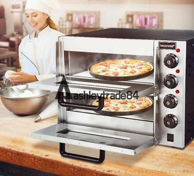110v 16 Double Electric Pizza Oven Commercial Ceramic Stone Free Shipping