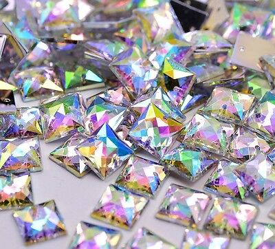 50 x AB Clear Sew on Acrylic Square Diamante Crystal Gems Rhinestone 10mm