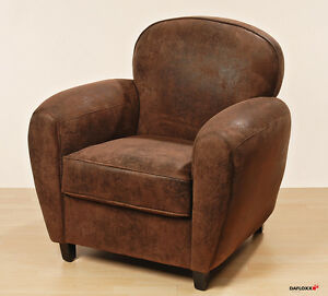 fauteuil eton marron imitation cuir sofa lounge de club berg re salon neuf ebay. Black Bedroom Furniture Sets. Home Design Ideas