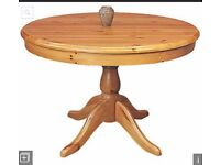 Round pine dining table, ideal for restoration