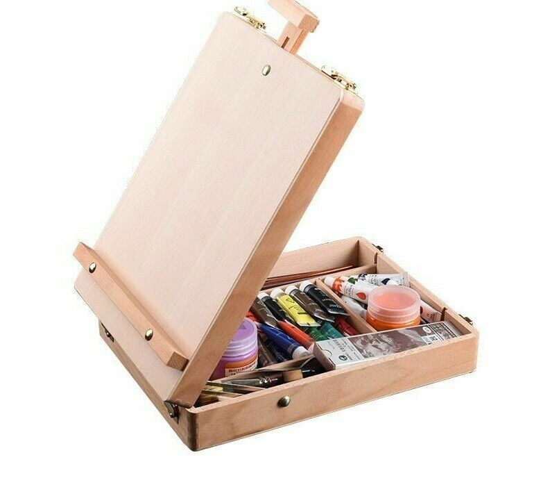 Wooden Easel Sketch Drawing Table Box Storage Oil Paints Art