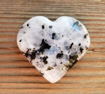 NATURAL RAINBOW MOONSTONE GEMSTONE PUFFY HEART 30-35mm