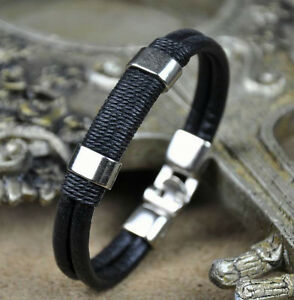Black-Mens-Surfer-Cool-Metal-Hemp-Leather-Wristband-Bracelet-Cuff