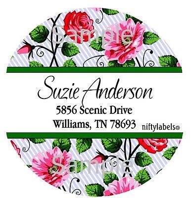 White Stripe Pretty Roses 1 Round Return Address Labels