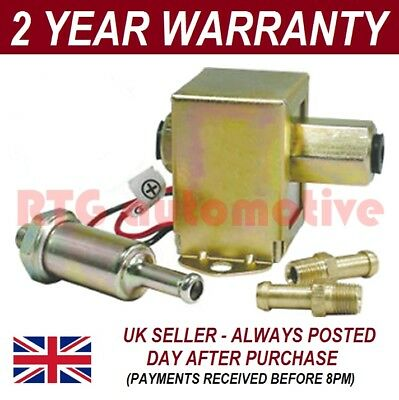 UNIVERSAL 12V FUEL PUMP + 2X FUEL UNIONS + IN-LINE FUEL FILTER PETROL & DIESEL