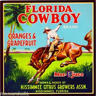 Kissimmee Florida Cowboy #3 Orange Citrus Fruit Crate Label Vintage Art Print