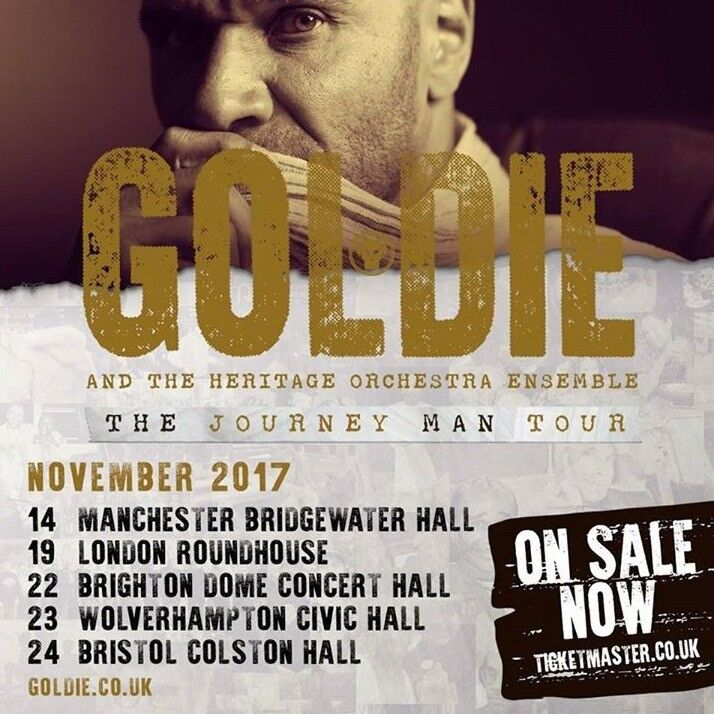4 tickets for sale for Goldie at The Roundhouse on Sunday 19th November