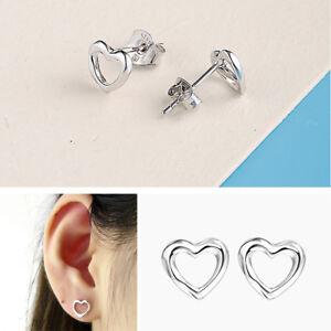 9e76fbc1c 925 Sterling Silver Open Heart Stud Ladies Woman Girls Childrens Earrings