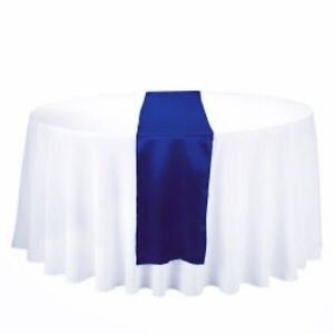 Navy Wedding chair sashes and table runners for rent.